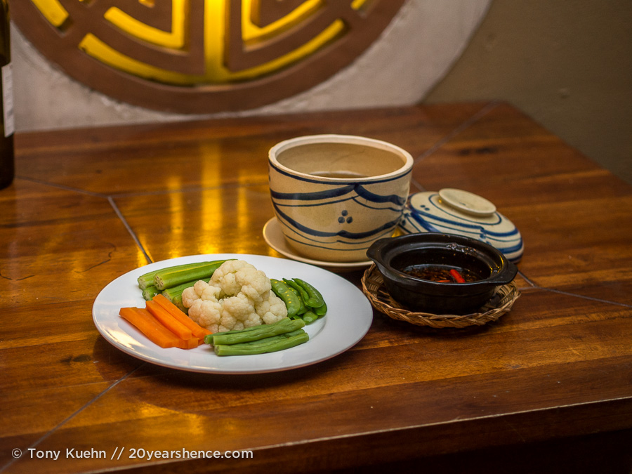 Steamed vegetables served with a caramelized fish sauce and minced pork dipping sauce