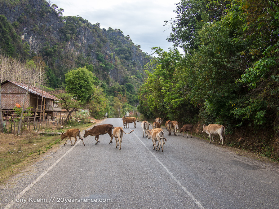 Laos traffic jam