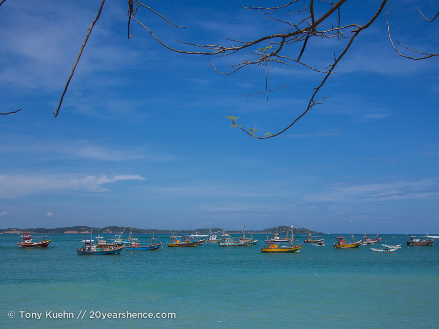 Boats off of Sri Lanka coast