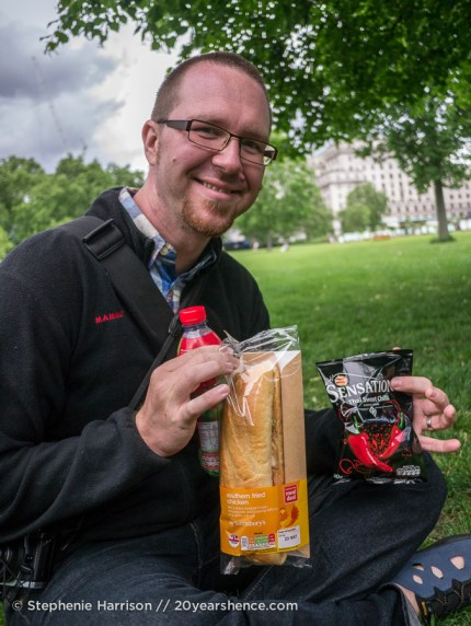 Tony with one of our many sandwiches in London