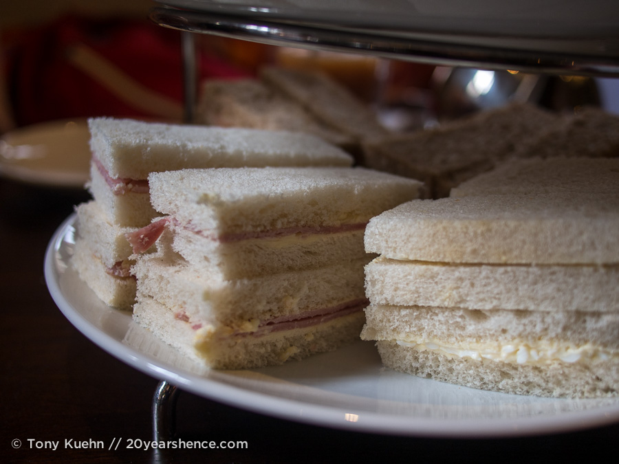 Fussy, crustless high-tea sandwiches