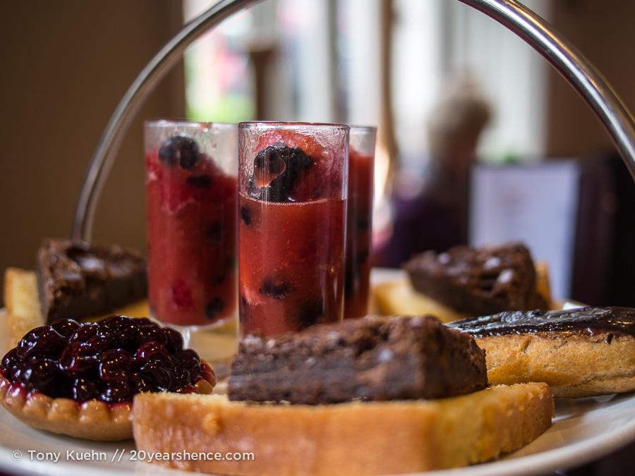 Various sweet treats, high tea, London