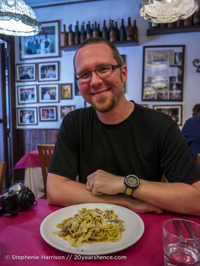 Tony with wild boar pasta