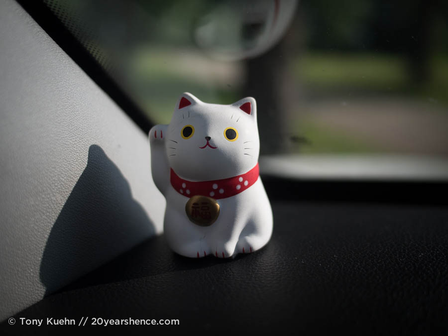 Our constant companion and driving totem: Lucky Cat