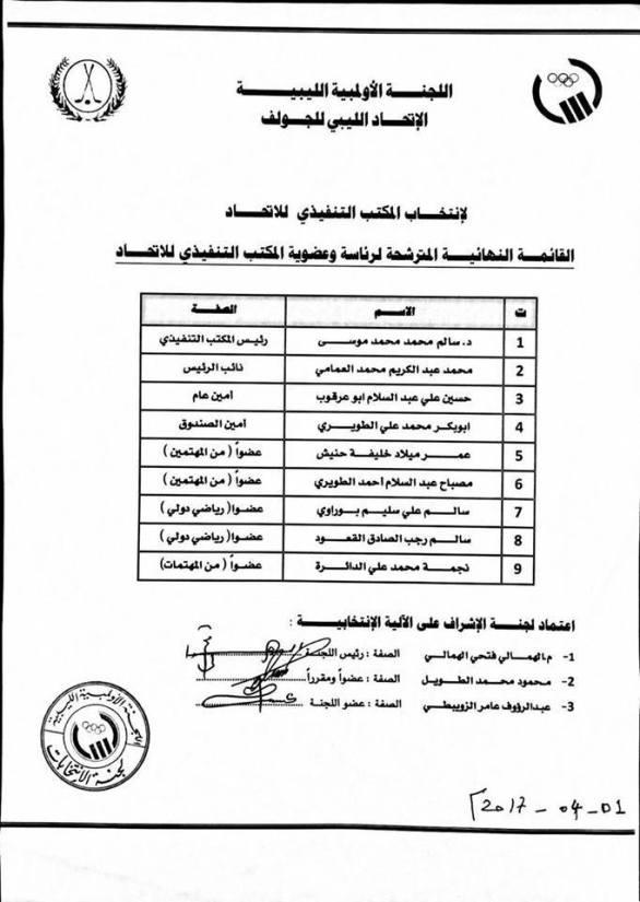 الاتحاد الليبي للجولف القائمة المرشحة
