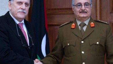 قائد الجيش الوطني المشير خليفة حفتر ورئيس المجلس الرئاسي لحكومة الوفاق الوطني فائز السراج