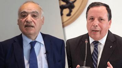 وزير الشؤون الخارجية التونسي خميس الجهيناوي والمبعوث الأممي الخاص إلى ليبيا غسان سلامة
