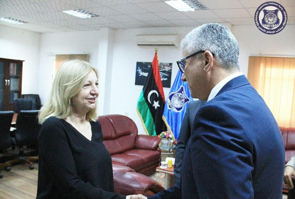 وزير الداخلية المفوض فتحي باشاغا سفيرة فرنسا لدى ليبيا، بياتريس دوهيلين