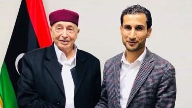 رئيس مجلس النواب عقيلة صالح ورئيس الاتحاد العام لطلبة ليبيا عبدالحميد العبار
