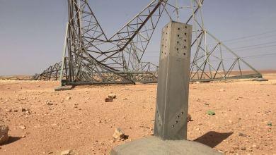 سقوط أبراج الضغط العالي في الحمادة الحمراء المغذية لكهرباء الجنوب