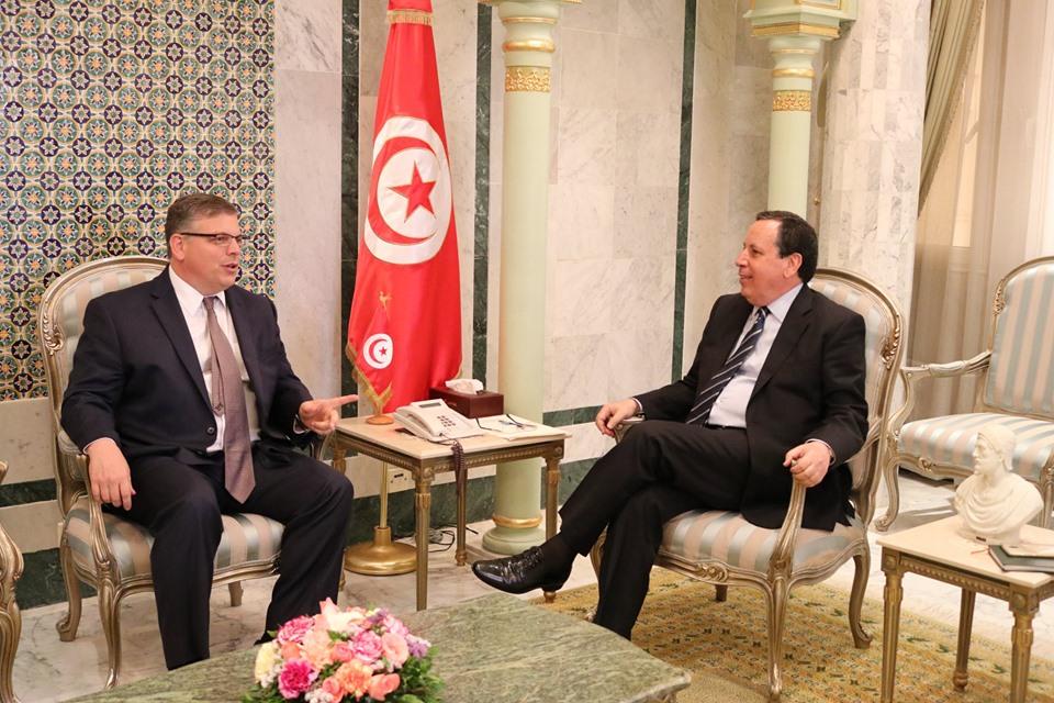 """خميس الجهيناوي مع سفير الولايات المتحدة في تونس """"دونالد بلوم"""""""