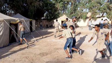 فوج كشاف هون يستضيف مخيم مفوضية كشاف الجفرة للأوسمة والمهارات