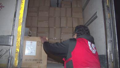 شاحنات إغاثة تصل الزنتان مقدمة من الهلال الأحمر ببنغازي