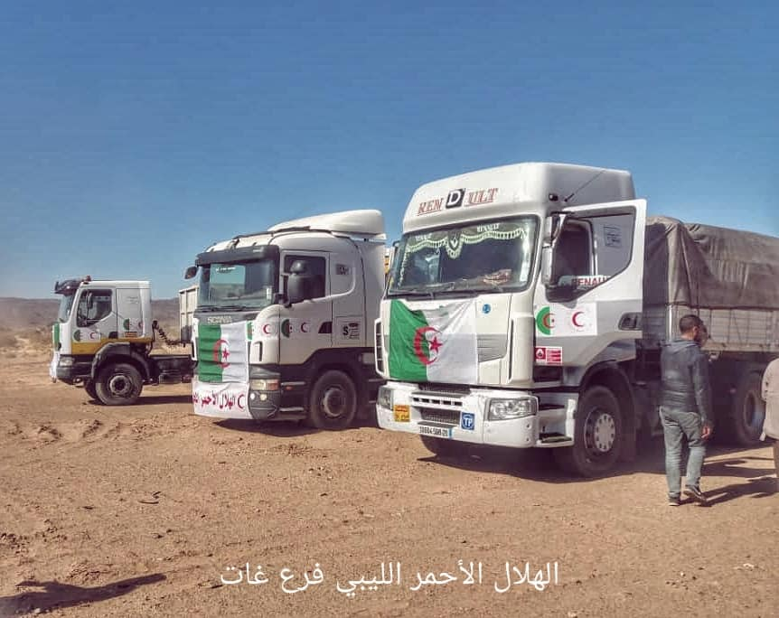 الهلال الأحمر غات يسلتم شحنة مساعدات إنسانية مقدمة من الجزائر