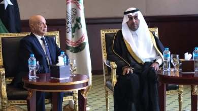 """مشعل السلمي، رئيس البرلمان العربي في لقاء مع رئيس البرلمان الليبي المستشار عقيلة صالح -""""أرشيفية"""""""