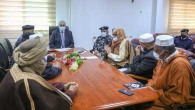 لقاء وزير الداخلية بحكومة الوفاق فتحي باشاغا مع أعيان ومشايخ المنطقة الجنوبية