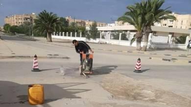 بلدية تاجوراء تعلن بدء صيانة ورصف طريق كوبري المصانع