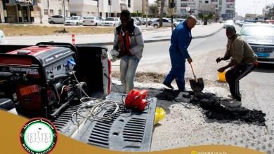 من أعمال صيانة البنية التحتية في شارع سناء محيدلي بمدينة مصراتة