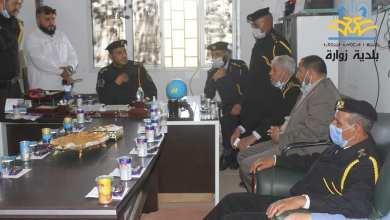 رئيس جهاز الحرس البلدي يتفقد مكتب زوارة ويلتقي مسئوليها