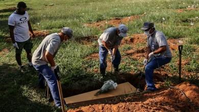 """دفن سيدة توفيت بسبب كورونا في مقبرة """"كامبو سانتو"""" في """"بورتو أليغري"""" ، البرازيل ، 6 أبريل 2021/ رويترز / دييغو فارا"""