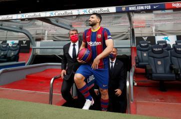 FC Barcelona present new signing Sergio Aguero