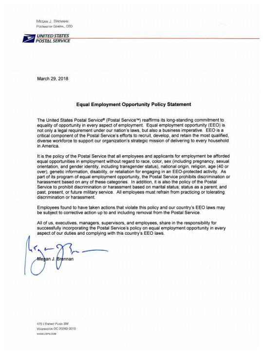 USPS Issues Equal Employment Opportunity Policy Statement