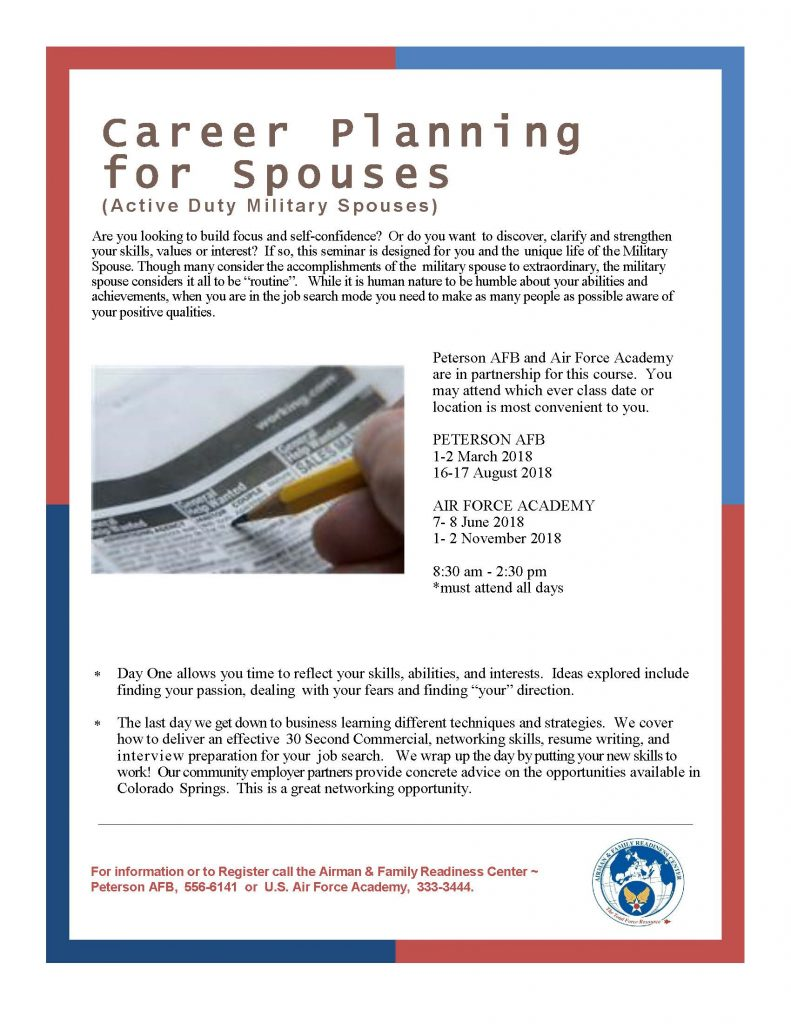 To Register, Contact The A&frc At Peterson Afb At 719-556-6141 Or The A&frc  At Usaf Academy At 719-333-3444.