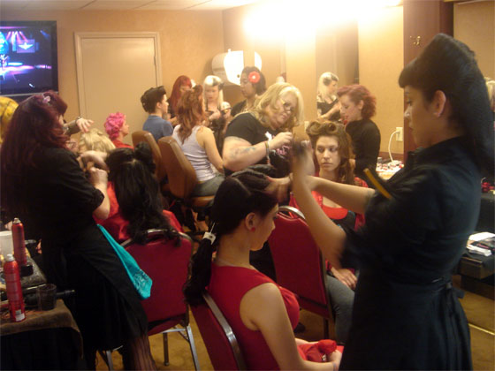 Pre-Fashion Show hair and makeup...  (©Slinky Sparkles. Please show respect and ask permission to use this image.)