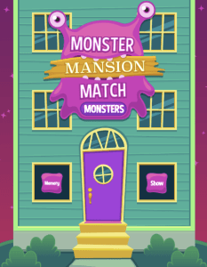 Monster Mansion Match Game ABCYA Game