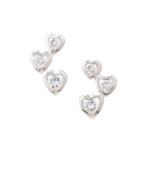 Sterling Silver White CZ Three Heart Stud Earring TE392C