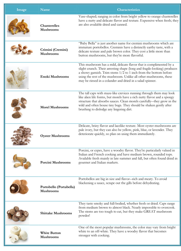 What mushrooms can be dried