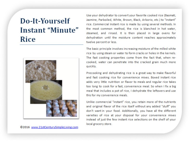 Tip #7-Do-It-Yourself Instant Minute Rice
