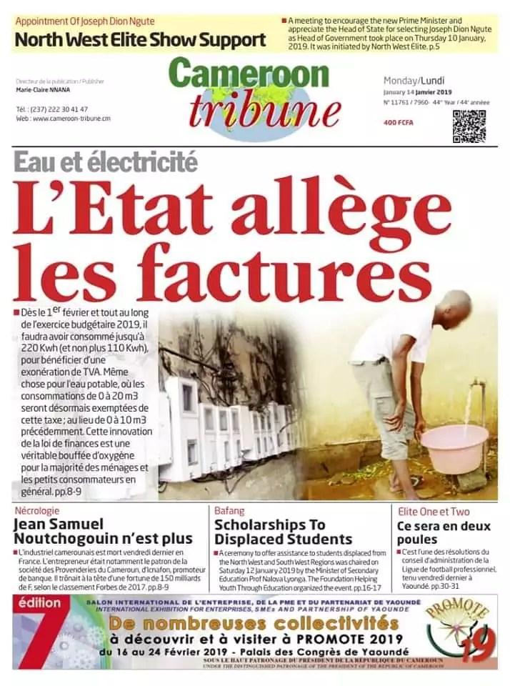 Cameroon Tribune édition du 14 janvier 2019