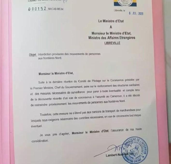 Communiqué gouvernement gabonais