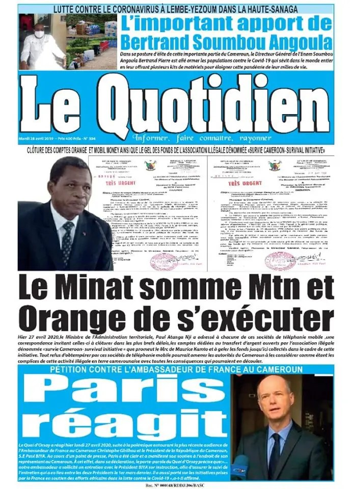 le quotidien du 28 avril 2020