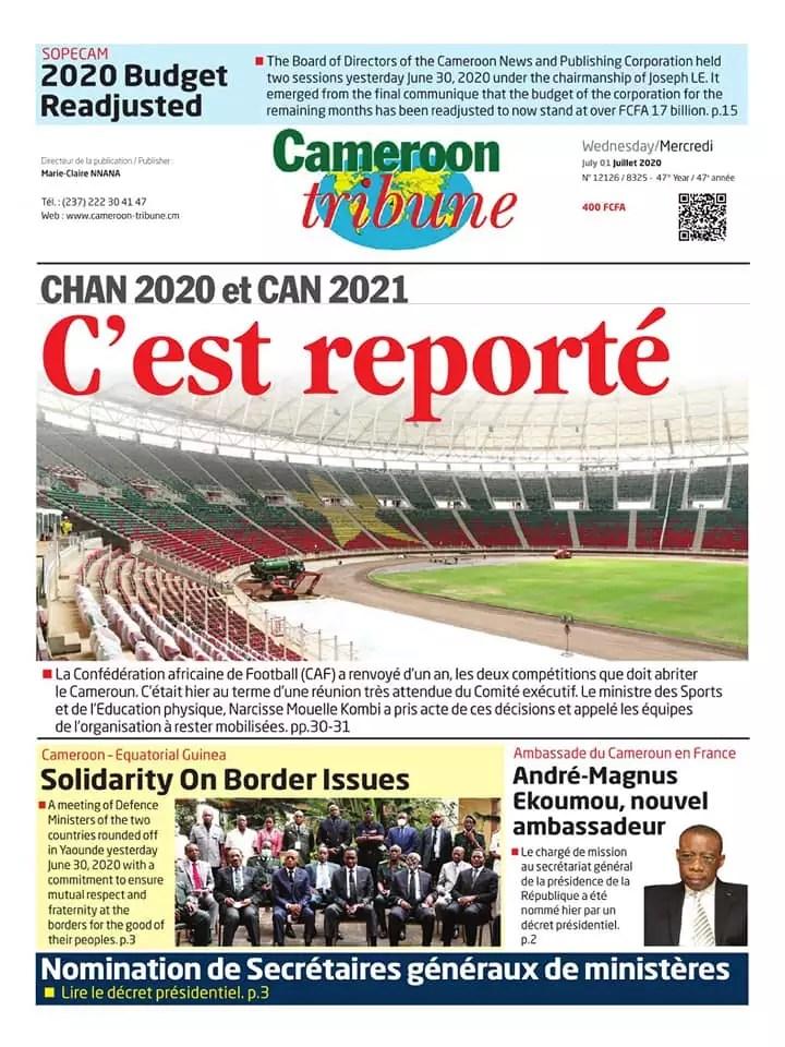 Cameroon tribune du 01 juillet 2020