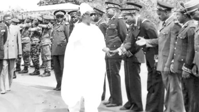 Ahmadou Ahidjo revue des troupes