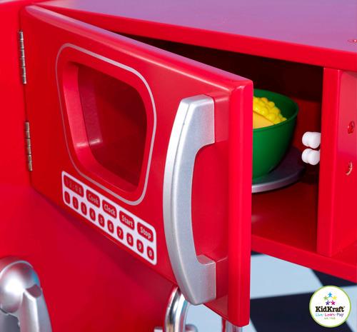 kidkraft red vintage kitchen 53173 over sink lighting bērnu virtuve