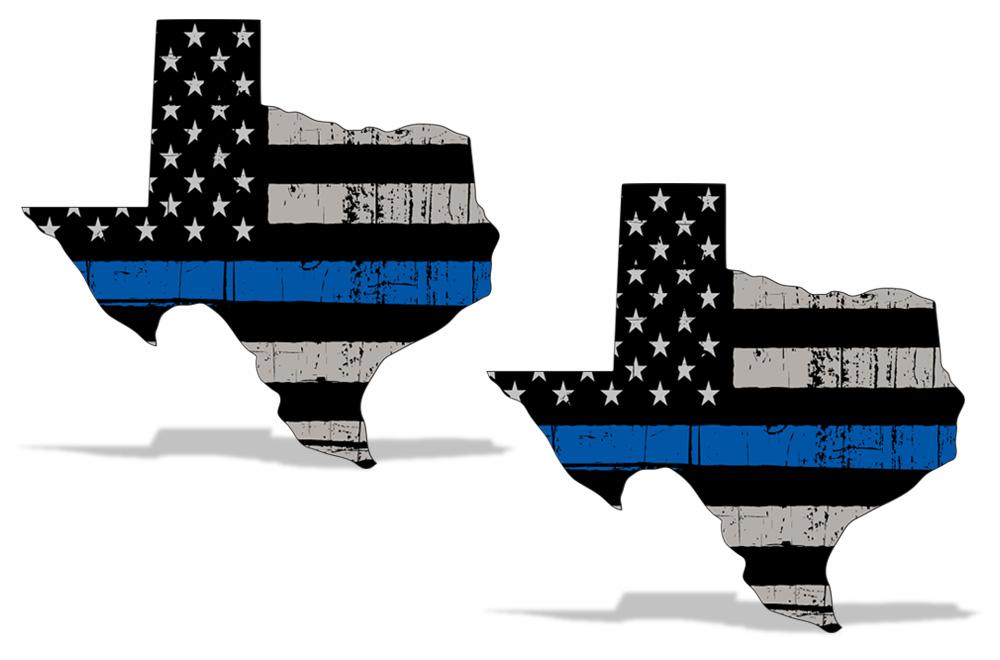Blue Lives Matter Subdued American Flag Vinyl Police Sticker Car Decal 2 PK