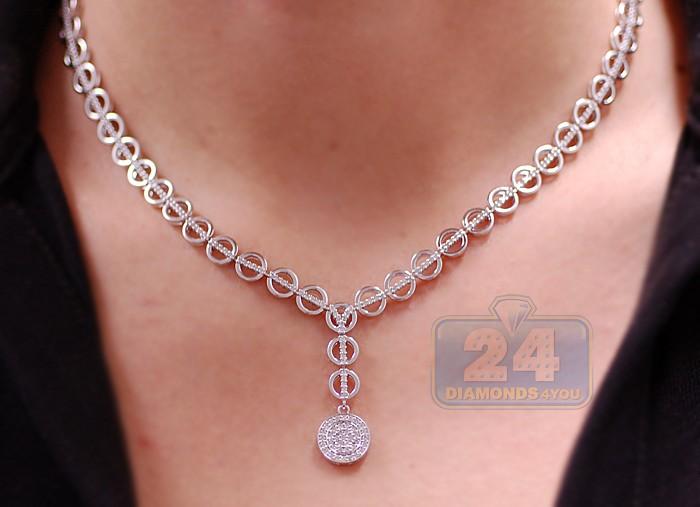 18K White Gold 157 Ct Diamond Womens Chain Necklace