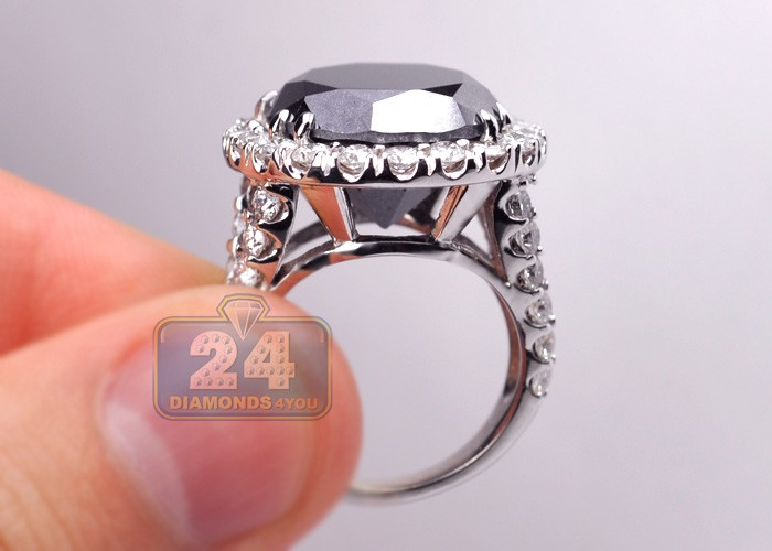 Womens Black Diamond Engagement Ring 18k White Gold 18 20 Carat