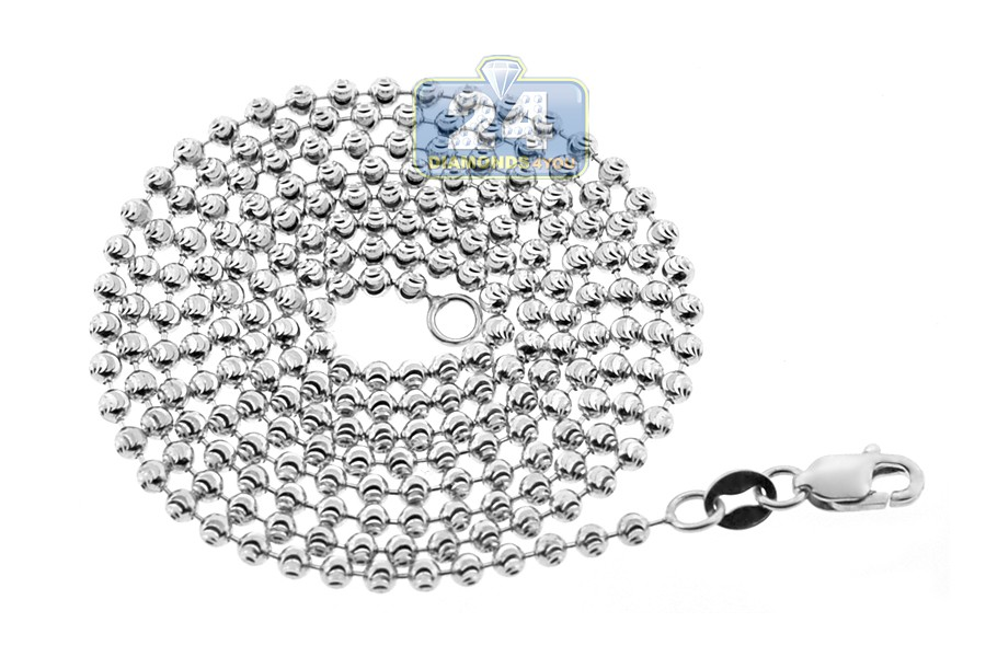 14K White Gold Army Moon Cut Ball Mens Beaded Chain 2 mm