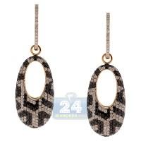 Womens Black Diamond Mosaic Drop Earrings 14K Yellow Gold ...