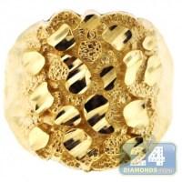 Mens Diamond Cut Nugget Ring 10K Yellow Gold