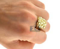 Mens Diamond Cut Nugget Ring 10K Yellow Gold