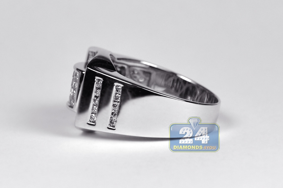 Mens Princess Diamond Pinky Ring 14K White Gold 1.01 ct
