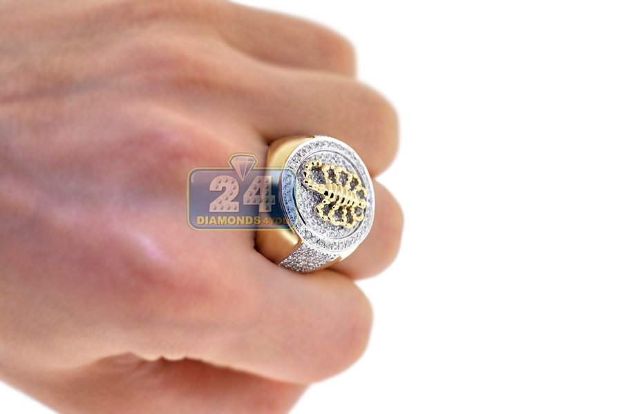 Mens Diamond Scorpion Round Ring 14K Yellow Gold 200 Ct