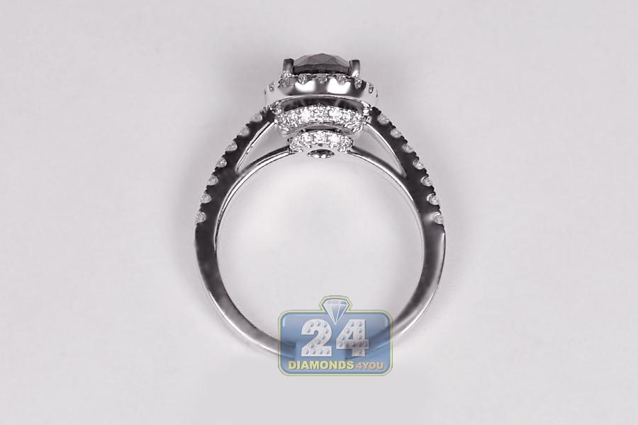 Womens Black Diamond Engagement Ring 214 Ct 18K White Gold