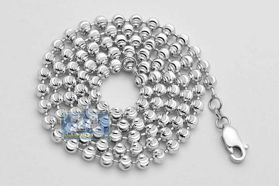 Italian 14K White Gold Moon Cut Bead Mens Army Chain 4mm