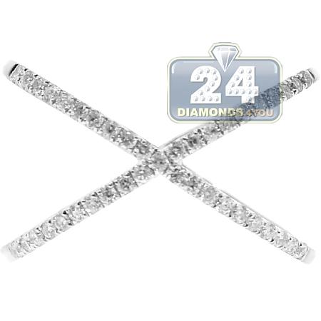 14K White Gold 0.33 ct Diamond Womens Criss Cross Ring